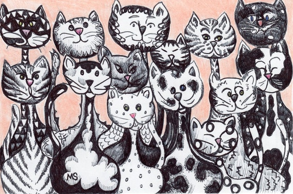 The Kitty Brigade - HAND DRAWN original- Black and White Family of cats