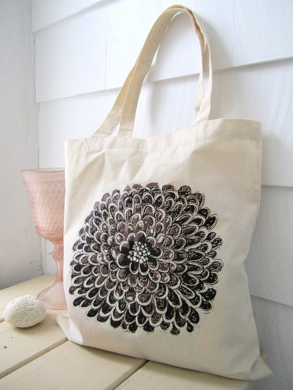 Lilac Wine Floral Tote Bag Screen Printed Bag Hand
