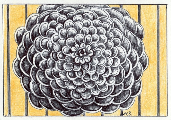 """Hand Drawn Card, Pen and Ink Flower """"Golden Girl"""" Original Drawing, Yellow Stripes Floral Mini Wall Art"""