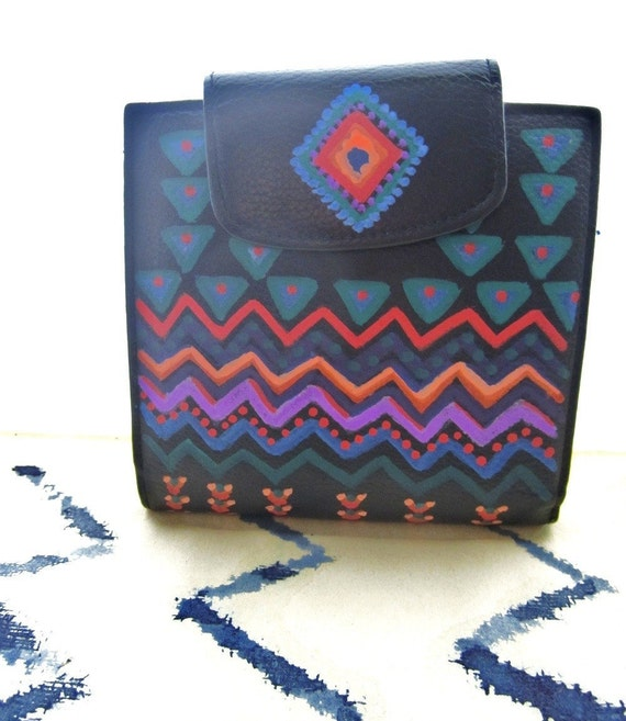 Hand Painted Ethnic Tribal Colorful Re-Purposed Leather Wallet
