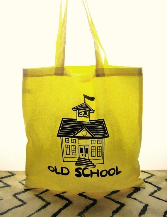 Teacher Gift- Old School Bright Yellow cotton canvas tote- screen printed Simple Natural Reusable lightweight