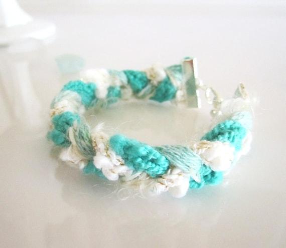 Beach Bum Yarn Bracelet - Boho Jewelry - Summer , Turquoise, Mint, White Fiber Bracelet - Braided Bracelet