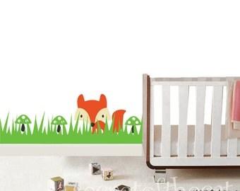 Nursery wall decal - Vinyl decal children - Fox decal - grass decal-nursery decor - Grass Vinal wall art