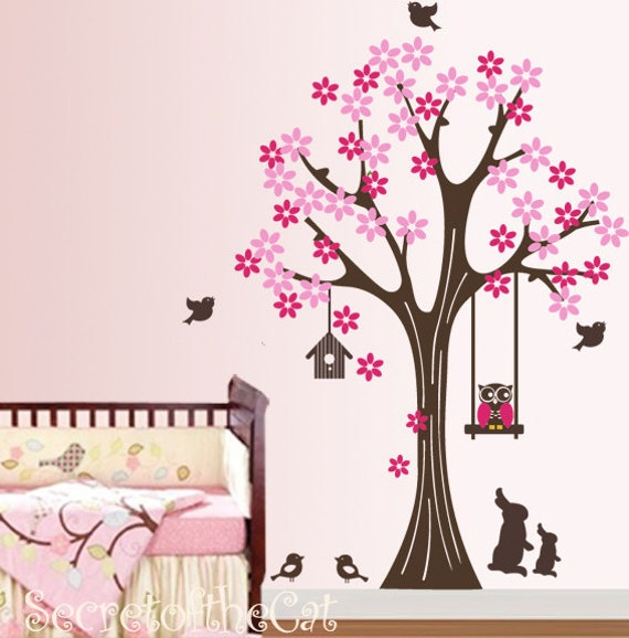 Owl decal Tree Decal - Kids Wall Decal Tree Wall Sticker - Tree with  flowers and