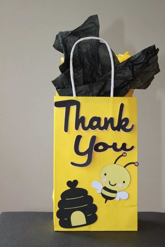 Items similar to bumble bee birthday treat goody bag on etsy for Bag decoration ideas