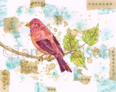 "Collage painting art bird tree leaves finch recycled tea bags, 8 x 10 mixed media print, limited edition print 1/250,  ""Purple Finch"""