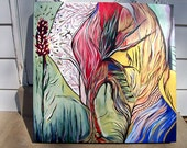 "Original organic looking painting ""Phoenix"". 3"" thick gallery canvas"