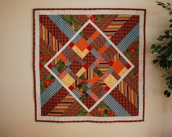 Beautiful Quilt in Rich Red, Gold, Green and Brown Tones