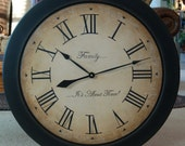 30 inch Large Wall Clock Roman Tuscan Antique Style Gallery Round Personalized Black Big