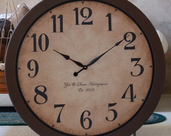 Large Wall Clock 36 inch Antique style Framed Tuscan Porcelain crackle Rustic Gallery Big Personalized Brown