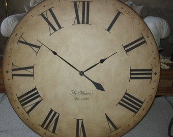 36 inch Big Wall Clock Large Antique Style Gallery Tuscan Round Roman Rustic Personalized
