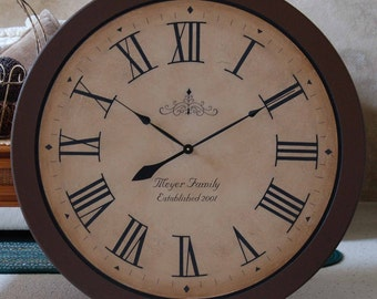 Large 36 inch Wall Clock Framed Antique Style Tuscan Rustic Brown Gallery Personalized Big Round