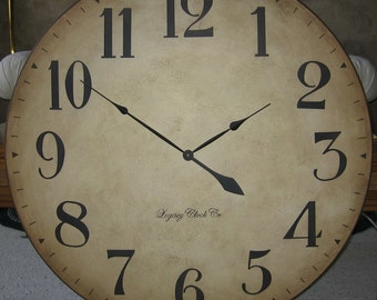 30 inch large wall clock antique rustic tuscan by bigclockshop