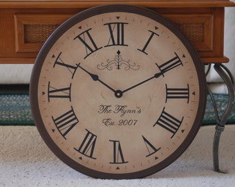 Large Wall Clock 18 inch Tuscan Antique Style Gallery Rustic Personalized Big Framed Round