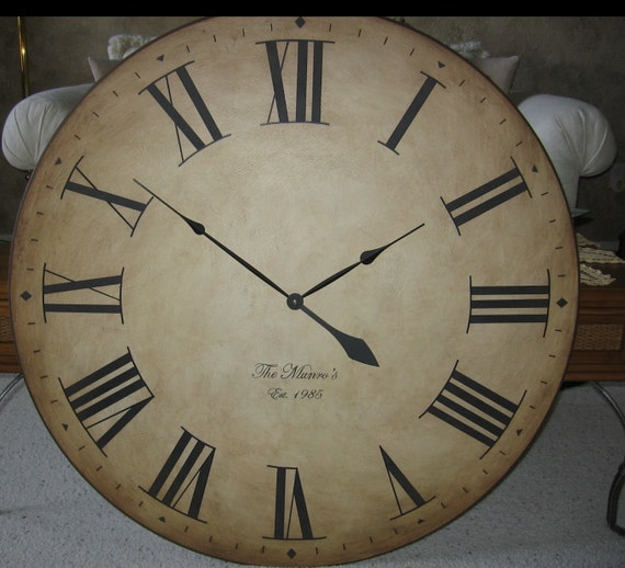 """Large Wall Clock 36"""" Big Antique Style Gallery Tuscan Round Roman Tan Personalized"""