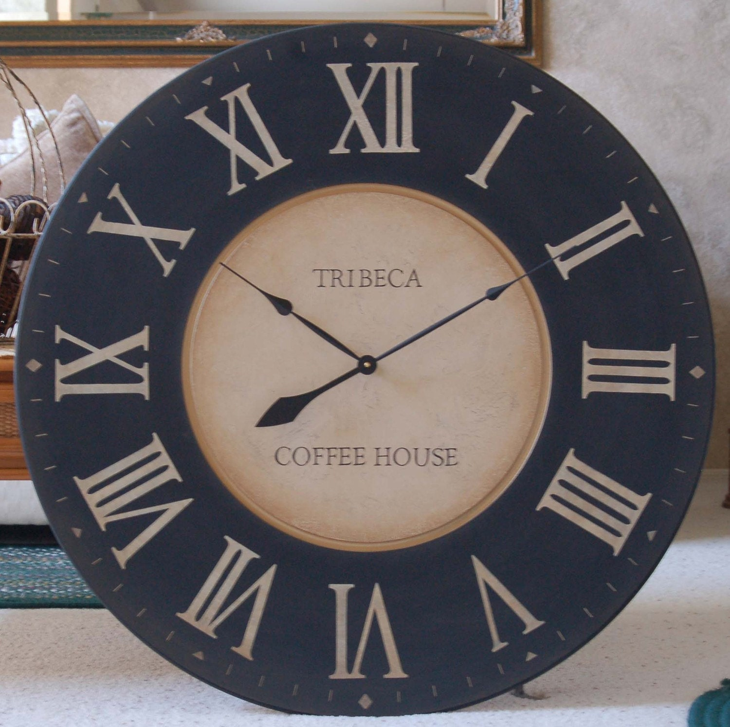 large wall clock 36 framed antique style tuscan black