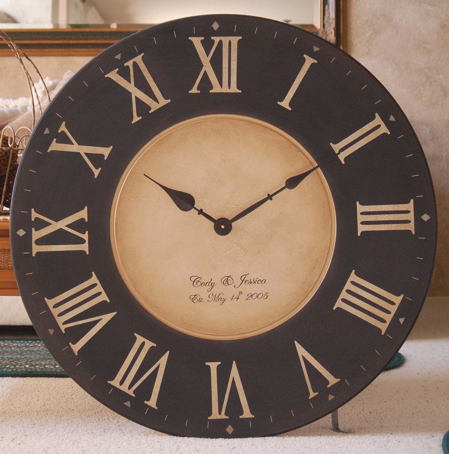 Large 30 Inch Wall Clock Framed Antique Style Tuscan Black