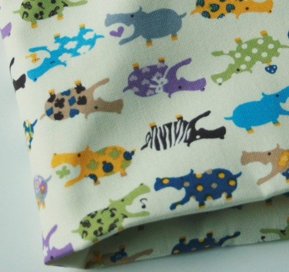 Cute Hippos Fabric Purple Blue 1 Yard