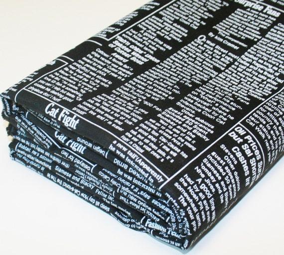 Kitty Newspaper Cotton Linen Blend Fabric Black - 1 Yard