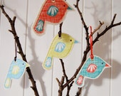 Set of 4 hanging bird decorations