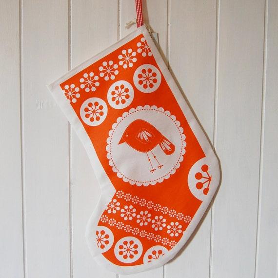Printed Christmas Stocking with Bird Motif