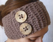 Crochet boho headband head wrap ear warmer - Mink (Brown)