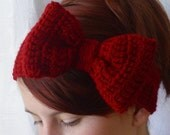 Crochet bow red boho headband headwrap earwarmer  - Adult size