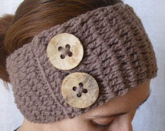 Crochet boho headband head wrap ear warmer - Mink (Brown)