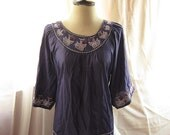 Provence Lavender Old World Autumn Leaves Indigo Silk Embroidered Crochet Eclectic Bohemian Indie Madame Butterfly Tunic Dressy Top