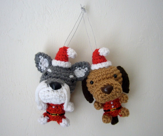Christmas Tree Ornament Dog Santa Amigurumi Puppy Stocking
