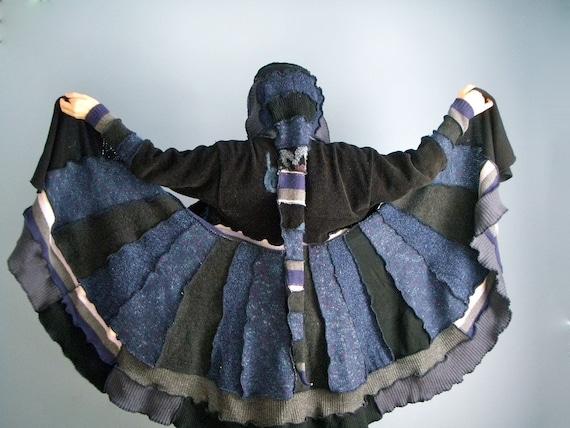 Witchy Woman Elf Sweater Coat Upcycled - Size Large XL Whimsical Jacket FREE SHIPPING