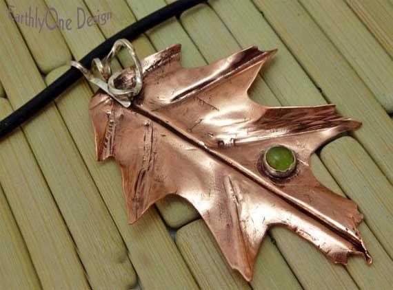 Hand-forged Copper Oak Leaf Pendant