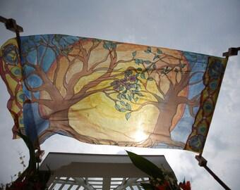 handpainted, custom designed silk chuppahs
