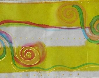 yellow swirls silk scarf