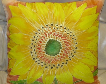 Sunflower Handpainted 16 in Silk Pillow Cover