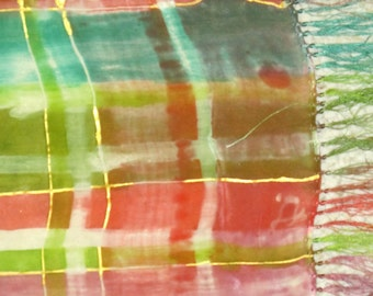 Silk Scarf Handpainted Holiday Plaid 11 in X 60in