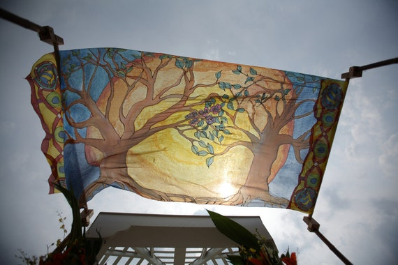 "Handpainted silk ""Tree of Life"" wedding chuppah"
