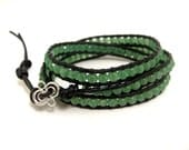 Leather Wrap Bracelet with Green Jade 3-Wrap