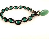 SALE Braided Leather and Sterling Bracelet with Green Jade