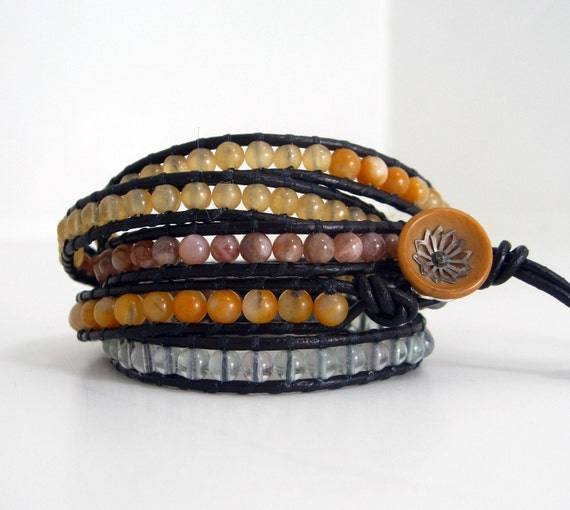 Neutral Yellow Beaded Leather Wrap Bracelet (5-Wrap)