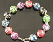 Multi-Colored Mosaic Mother of Pearl Beaded Bracelet