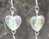 Glass Heart Earrings with Rutilated Quartz drops