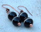 Agate Carnelian Copper Earrings