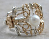 Silver and Gold Freshwater Pearl Filigree Ring