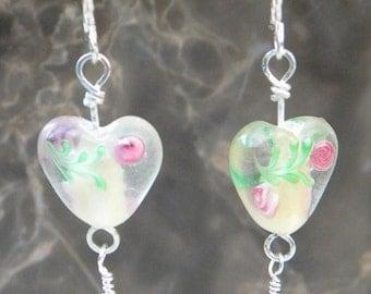 Glass Heart Earrings with Rutilated Quartz drops
