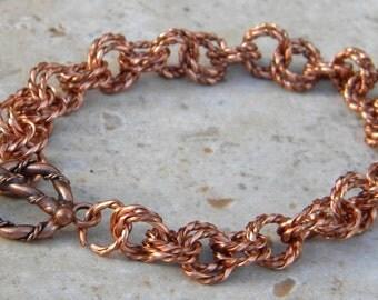 Copper link bracelet, copper chain bracelet, twisted copper link bracelet, copper bracelet, chain maille bracelet, rope bracelet