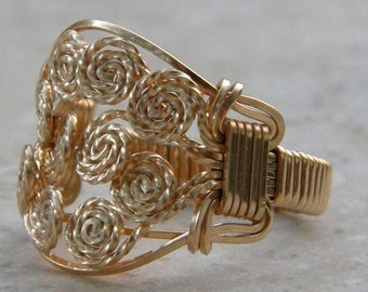 14 Kt Gold Filled Wire Wrapped Rosette Ring
