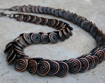 Egyptian Style Copper Necklace, coiled copper necklace, copper necklace, antiqued copper necklace, egyptian necklace, copper spiral necklace
