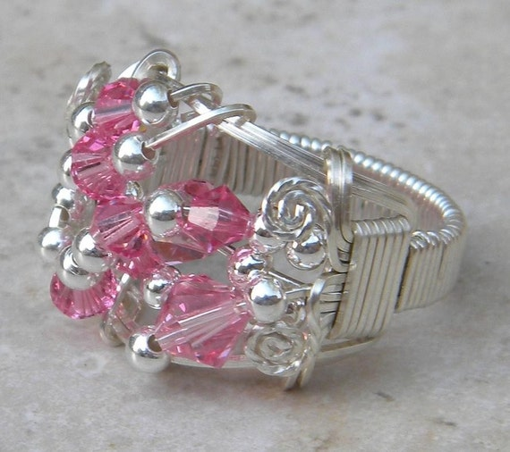 Pink Crystal Ring, sterling silver pink ring, pink cocktail ring, pink wire wrapped ring, Pink statement ring, Pink cocktail crystal ring