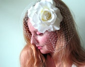 Bridal Fascinator - Ivory Rose Flower Cocktail Hat with Matching Netting - Weddings - Prom - Kentucky Derby - Royal Ascot